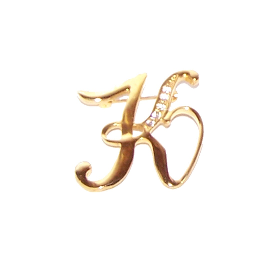 sale initial k pin brooch letter k monogram gold k With monogram letter pins