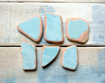 Light Blue Sea Pottery, 6pcs, Genuine Sea Pottery, Beach Pottery, Mosaic Pieces, Craft Supplies, Pottery For Crafts