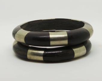 Vintage bangles - pair of bangles with metal inlay.