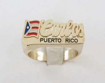 Carlos Men's Name Ring 14k Yellow Gold Puerto Rico National Flag  11 mm Wide