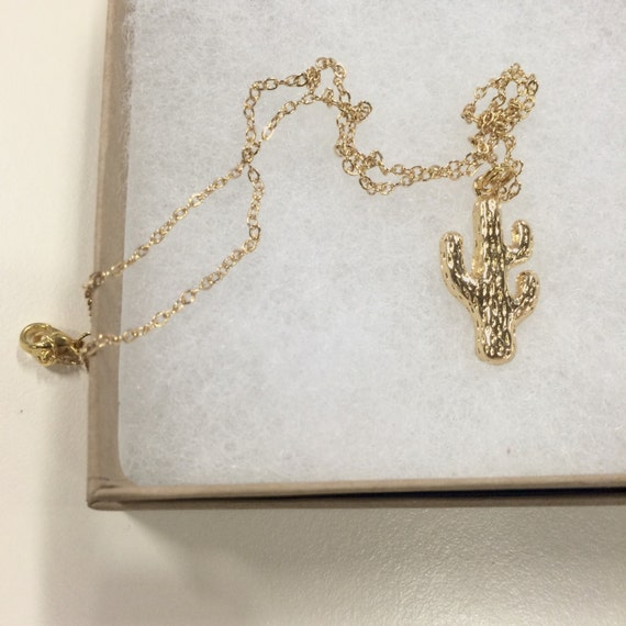 """Gold coloured simple cactus necklace on 17"""" chain"""