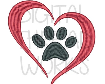 Love Puppy Paw Print Heart Embroidery Design for 4x4 5x7 and 6x10 inch hoop. Pet Adoption Logo Dog Paw Print ITEM# LPPPH