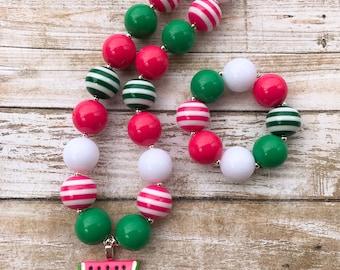Watermelon Chunky Necklace, Watermelon Birthday Bubblegum Necklace, Watermelon Necklace, Girl Toddler Watermelon Jewelry, Watermelon Party
