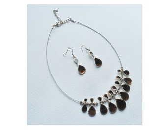 Brown Enamel Choker & Earrings Silver Tone Necklace Wire Choker Jewellery Jewelry Set 1980s Gift For Her