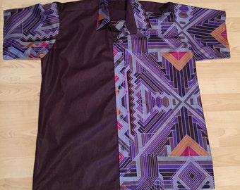 Medium Mens Purple Print and African Print and Cotton Mix Short Sleeve Shirt