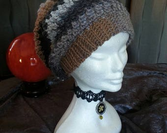 Crocheted Slouchy Beanie, Slouchy Hat, Beanie Hat, Grey and Brown Beanie, Winter Beanie,  Ladies Beanie, Ladies Hats