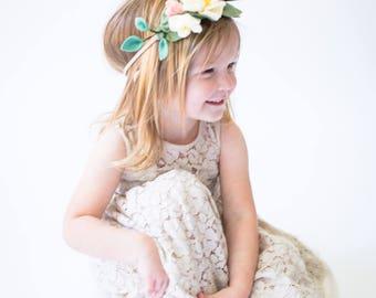Floral Crown, Felt Headband, Flower Hair Wreath, Kids Flower Crown,Photography Prop, Flower Girl Crown, Birthday Crown, Floral Crown Wedding