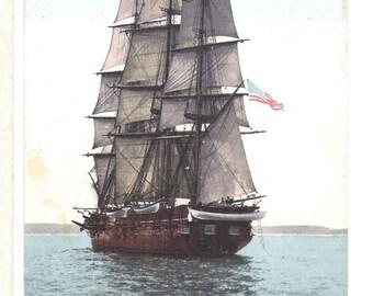 "Vintage Postcard of Sailing Ship, U.S. School Ship ""St. Mary's"" Under Full Sail  S143"