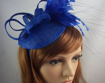 Royal Cobalt Blue Sinamay Fascinator with Feathers - Special Occasion Wedding Races