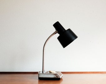 Vintage Goose Neck Desk Lamp - wood and chrome styling with black shade