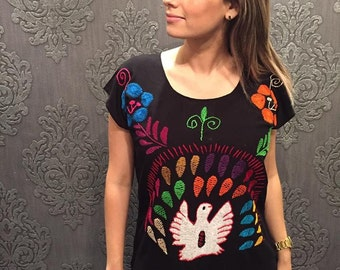 Mexican blouse huipil frida kahlo flowers cinco de mayo day of the dead mexican party mexican wedding tuxtepec fiesta mexicana flowers bird