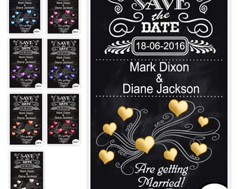 Personalised Save The Date Magnets Hearts Evening or Day 10cm x 7cm approx A7 - Choose colour - Non-Personalised Sample available