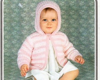 """Vintage baby DK hooded jacket knitting pattern PDF baby cardigan with hood 19-21"""" DK light worsted 8ply baby knitting patterns pdf download"""