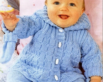 "baby DK hooded jacket trousers mitts knitting pattern pdf baby pram set coat leggings 14-20"" DK light worsted 8ply pdf instant download"