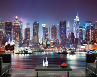 Photo Wallpaper Wall Murals Non Woven 3D Modern Art Manhattan New York  Skyline Wall Decals Bedroom Part 36