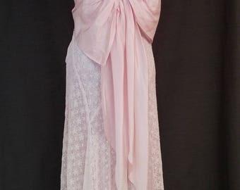 Vintage Party Dress, 1930, Pink Lace