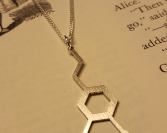 Laser Cut Stainless Steel Dopamine Molecule Necklace - Chemistry Necklace - Nerdy Gift for Her