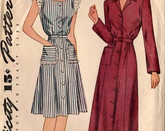 C. 1948 Original Vintage Simplicity House Dress or House Coat Pattern