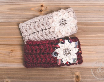 Knit Headband - Flower Knit Headband - Rhinestone Knitted Ear Warmer Red / Taupe-Women's Fall / Winter Fashion, Christmas Gift For Her