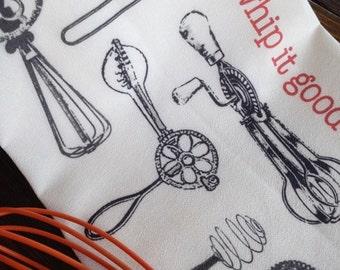 Whip It Flour Sack Kitchen Tea Towel Black White and Red katzpajamas