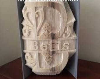 Book Folding Cut and Fold Monogram Pattern - Any Letter/Word
