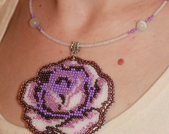 Bridesmaids necklace Amethyst pendantflower choker Amethyst jewelry Embroidered pendant Amethyst Necklace  Purple Rose Mother day gift