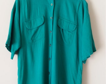 Women's Soft Teal Button Up Top Short Sleeve Blouse Size Small Vintage