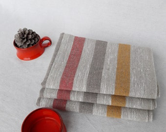 Linen towel Rustic kitchen Thick linen towel Kitchen towel Dish towel Striped towel Durable towel Country house towel Tea towel Nature linen