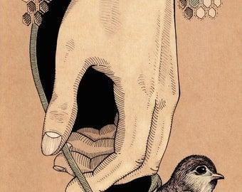 Bird in Hand - print