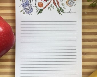 Grocery List Notepad, Market List, 4x9 with magnet