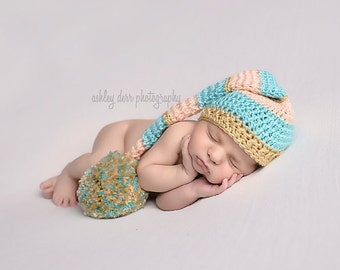 Long Tail Hat, Baby Elf Hat, Baby Photo Prop, Crochet Newborn Hat, Newborn Elf Hat, Baby Girl Hat, Crochet Baby Hat, Baby Shower Gift