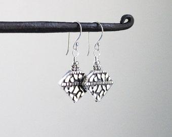 Balinese Sterling Silver Earrings, Silver Dangles, Bali Earrings, Balinese Silver, Bali Bead Earrings, Balinese Jewelry, Geometric Dangles