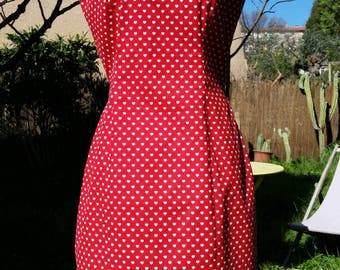 Red heart-print tie-back sun dress