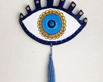 All Seeing Third Eye Amulet Wall Art : Crete