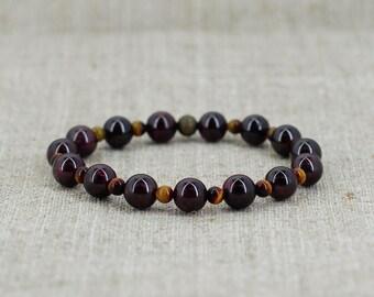 Fashion jewelry Garnet bracelet Tiger-eye bracelet Gemstone-bracelet Healing crystal and stone Meditation bracelet-for-men gift-for-dad gift