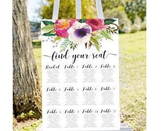 Printable seating chart,Wedding seating chart, seating chart sign, find your seat sign, wedding seating charts, engagement seating chart