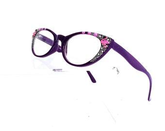 Cat Eye Reading glasses, Pink Flamingo Reading Glasses, +1.75 readers, Hand painted reading Glasses