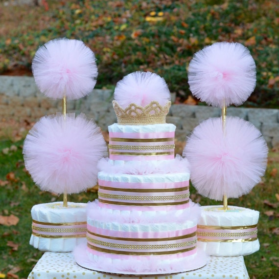 pink and gold baby shower decorations by julies2cutecreations