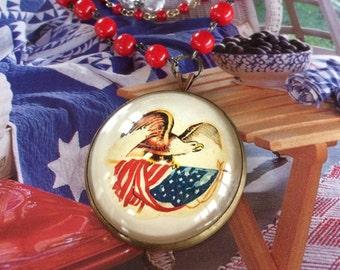 Patriotic Vintage Bridle Rosette Necklace