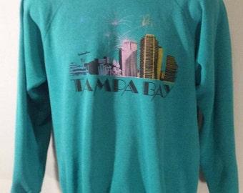 "1980s  ""Tampa Bay"" Large Hanes 50/50 Raglan Sweatshirt Teal Made in USA"