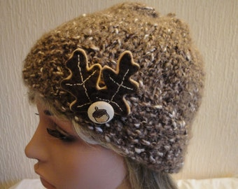 woman hat with brooch, brown and cream hat, tweedy knit cap, oak and acorn beanie, woman wool mix hat, OOAK acorn beanie, embellished cap