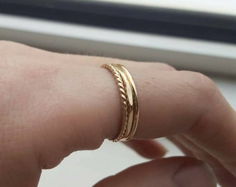 Gold stacking ring set (THREE RINGS); rose gold stacking rings; stackable rings; gold rings; rose gold rings; hammered rings; multi rings
