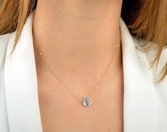 Swiss Blue Topaz necklace, December Birthstone, Topaz Pendant, Natural Gemstone, Birthday Gift: 14K Gold Filled, Rose Gold, Sterling Silver