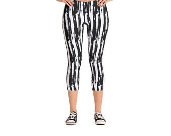 Vertical Brush Stripe Leggings - Women's Active Wear Pants - Zen Fun Yoga Pants - Sizes XS to XL - Polyester/Spandex - Gift Idea for Her