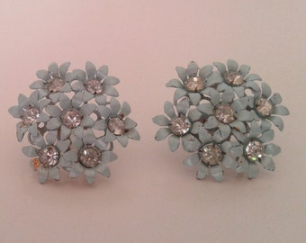 Vintage 1950's Baby Blue Flower Clusters with Rhinestones Screw On Earrings Ladylike Mid Century