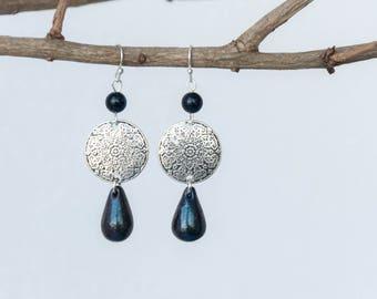 Iridescent earrings, Dark purple earrings, Aventurine earrings, Color changing earrings, Schillernde Ohrringe, Pendientes iridiscentes