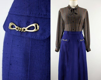 60s Japanese Midnight Blue Secretary Skirt| Poly x Hemp Mod Chic Midi Skirt | Pleated Skirt with Golden Chain | Office Work Skirt | Small