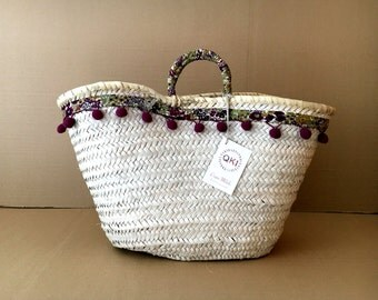 Decorated carrycot / decorated basket / carrycot Beach / basket Beach / Strawbag / Summer bag