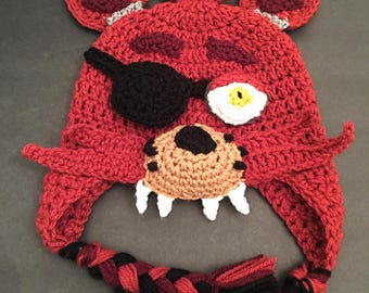 Crochet Five Nights At Freddy's FNAF Foxy Inspired Hat PATTERN