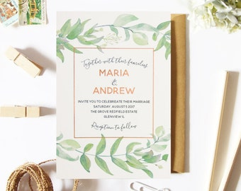 Green and Copper Wedding Invitation, Floral, Foil, Ivory Cardstock, and Handmade, Elegant, Modern, Gold Foil and Rose Gold Foil Available
